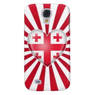 Georgian Heart Flag with Sun Rays Galaxy S4 Cases