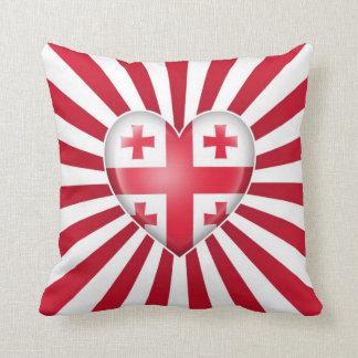 Georgian Heart Flag with Sun Rays Pillows