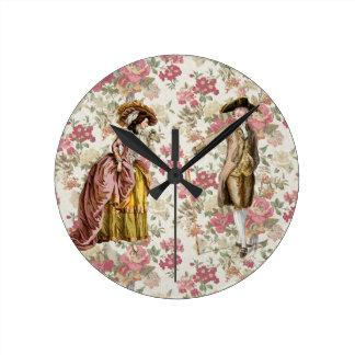 Georgian Lady and gentleman Round Clock