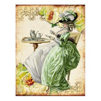 Georgian Lady Drinking Tea - Green Post Card