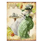 Georgian Lady Drinking Tea - Green Wens Kaart