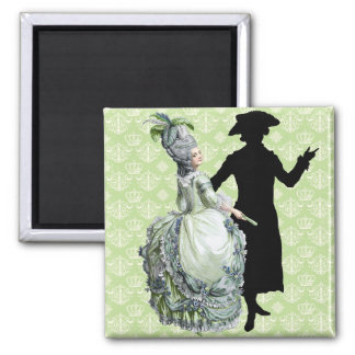 Georgian Lady - Green 2 Inch Square Magnet