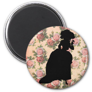 Georgian Lady Silhouette 2 Inch Round Magnet