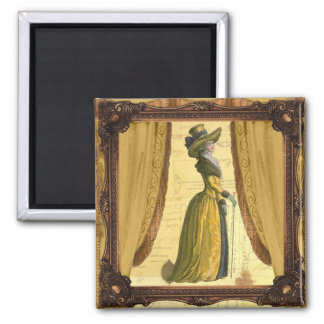 Georgian Lady with a stick - applied 2 Inch Square Magnet