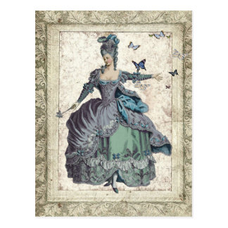 Georgian Lady with Butterflies Postcards