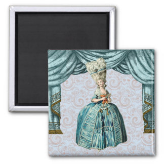 Georgian Lady with Closed supporter - Blue 2 Inch Square Magnet