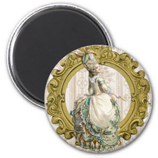 Georgian Lady - Yellow and Green 2 Inch Round Magnet