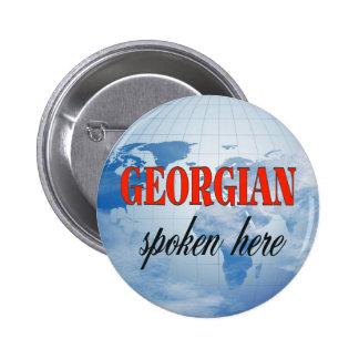 Georgian spoken here cloudy earth pinback button