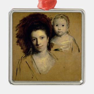 Georgiana, Countess Spencer and her Daughter Lady Metal Ornament