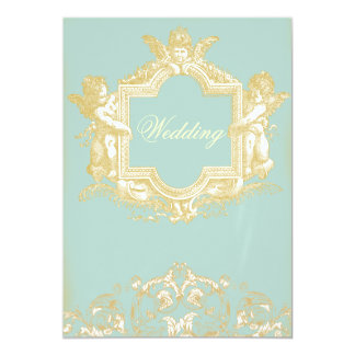 "Georgiana (Marie Antoinette Blue) Wedding 5"" X 7"" Invitation Card"
