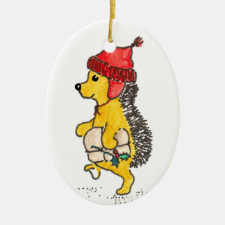 Georgie Hedgehog Double-Sided Oval Ceramic Christmas Ornament
