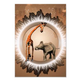 """Geraffe y elefante divertidos del dibujo animado invitación 3.5"""" x 5"""""""