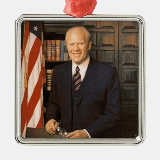 Gerald Ford Square Metal Christmas Ornament