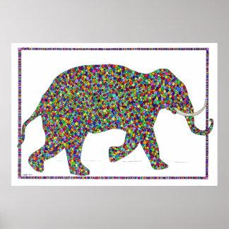 Gerald Glass Dot Running Elephant Poster