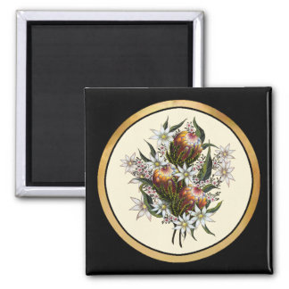 Geraldton Wax, Flannel Flowers, Banksia 2 Inch Square Magnet