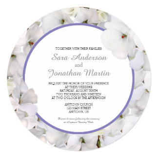 """Geranio blanco y boda redondo del acento púrpura invitación 5.25"""" x 5.25"""""""