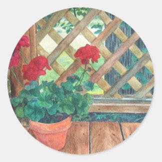 Geranio (jardinero) pegatina redonda