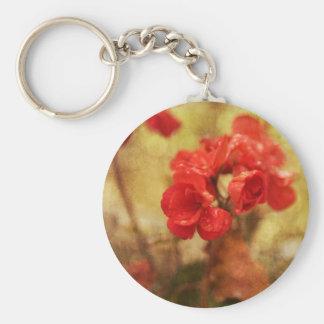 Geranio rojo llavero redondo tipo pin