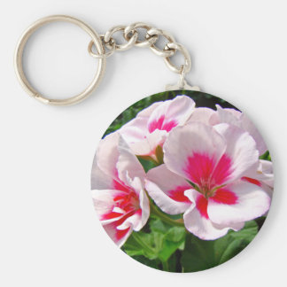 Geranio rosado y rojo floral llavero redondo tipo pin