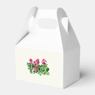 Geranios en una fila caja para regalo de boda