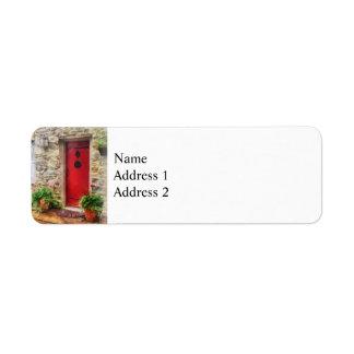 Geranios por la puerta roja etiquetas de remite