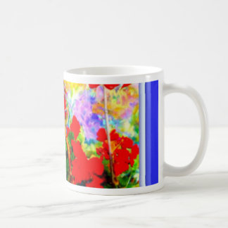 Geranios y azul rojos por Sharles Tazas De Café