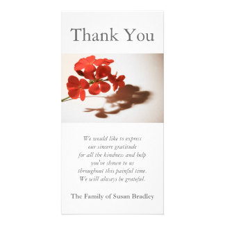 Geranium 1 Sympathy Thank You Photo Card