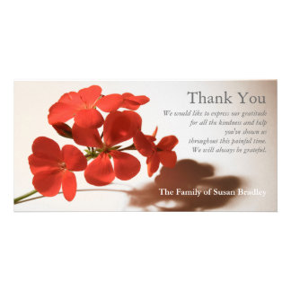 Geranium 2 Sympathy Thank You matching stamp Card