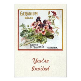 """Geranium Brand Fruit Crate Label 5"""" X 7"""" Invitation Card"""