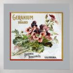Geranium Brand Fruit Crate Label Poster