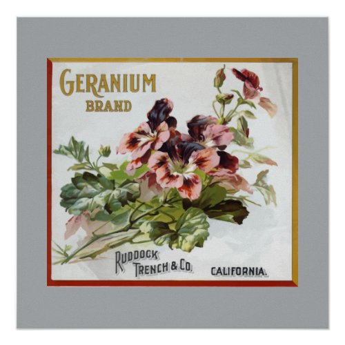Geranium Brand Fruit Crate Label
