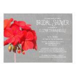 "Geranium Bridal Shower Invitations 5"" X 7"" Invitation Card"