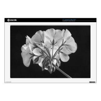 Geranium Flower In Progress Black and White Decals For Laptops
