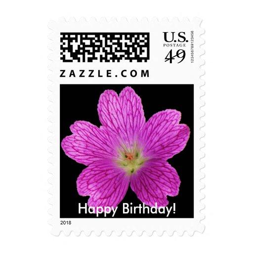 Geranium Happy Birthday Stamp