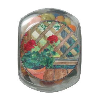 Geranium on the Deck Glass Jar