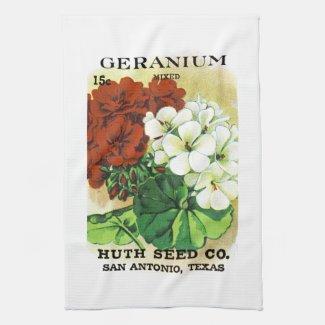 Geranium Seed Packet Label Kitchen Towel