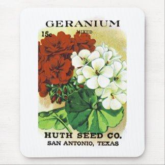 Geranium Seed Packet Label Mouse Pad