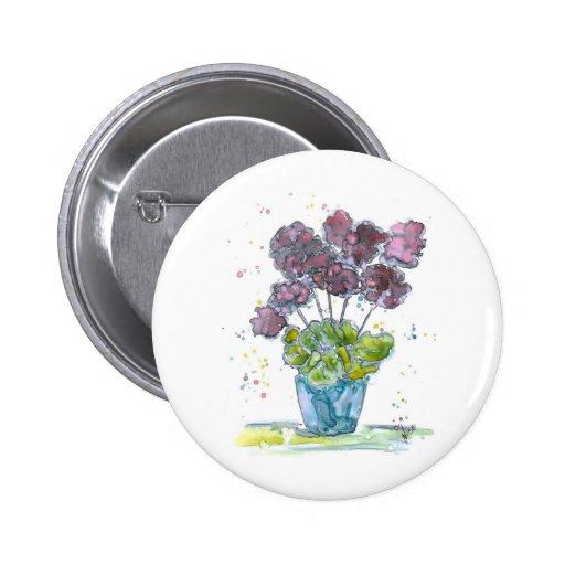 Geraniums 2 Inch Round Button