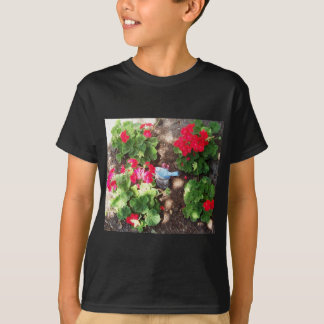 Geraniums and Bird T-Shirt