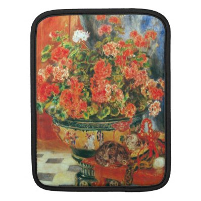 Geraniums and cats by Pierre Renoir iPad Sleeves