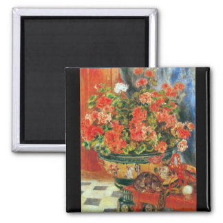 Geraniums and cats by Pierre Renoir Fridge Magnets