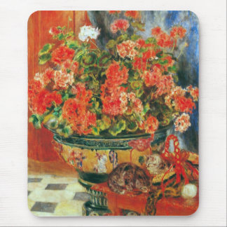 Geraniums and cats by Pierre Renoir Mouse Pad