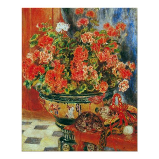 Geraniums and cats by Pierre Renoir Poster