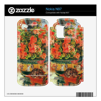 Geraniums and cats by Pierre Renoir Skins For Nokia N97