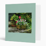Geraniums and Lavender Flowers on Stone Steps 3 Ring Binder