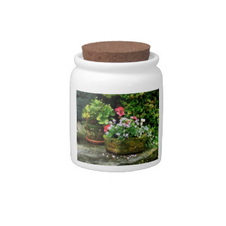 Geraniums and Lavender Flowers on Stone Steps Candy Dish