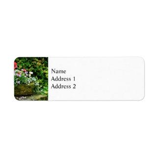 Geraniums and Lavender Flowers on Stone Steps Return Address Label