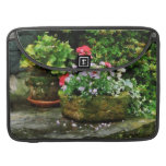 Geraniums and Lavender Flowers on Stone Steps Sleeves For MacBook Pro