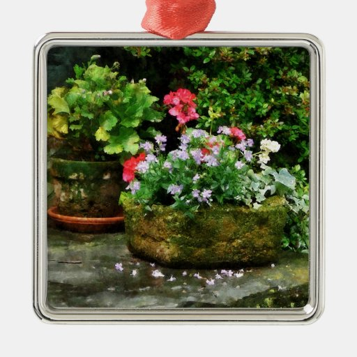 Geraniums and Lavender Flowers on Stone Steps Christmas Ornament