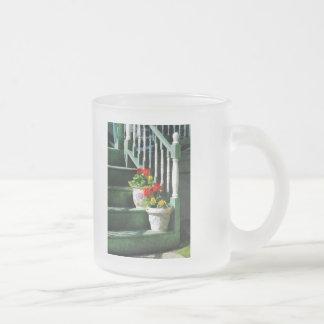 Geraniums and Pansies on Steps Coffee Mug